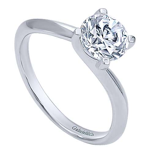14k White Gold Bypass Engagement Ring angle 3
