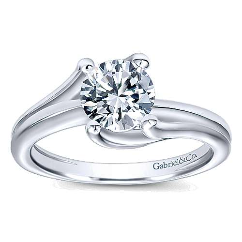 14k White Gold Bypass Engagement Ring angle 5