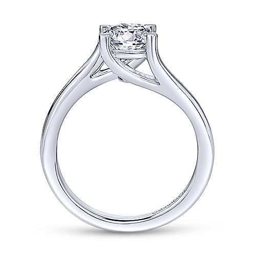 14k White Gold Bypass Engagement Ring angle 2