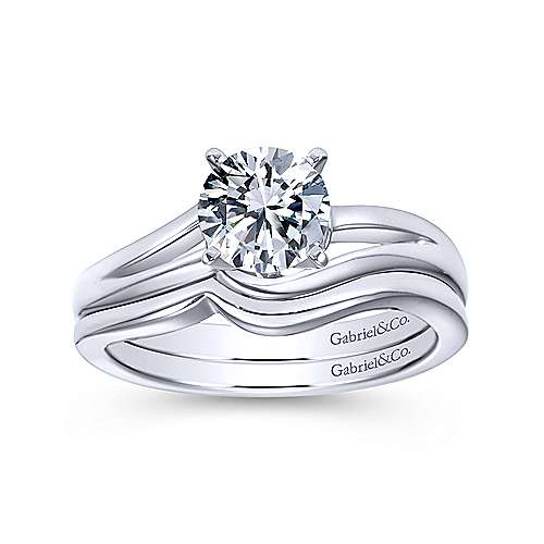 14k White Gold Bypass Engagement Ring angle 4