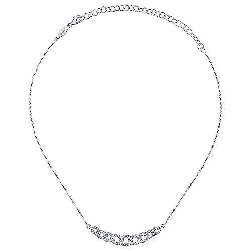 14k White Gold Cascade Choker Bar Necklace angle 2