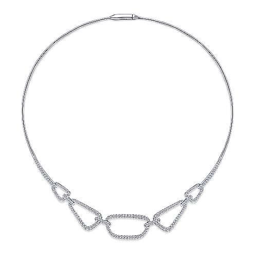 14k White Gold Cascade Choker Diamond Choker Necklace angle 2