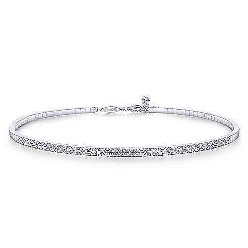 14k White Gold Cascade Choker Diamond Choker Necklace angle 1
