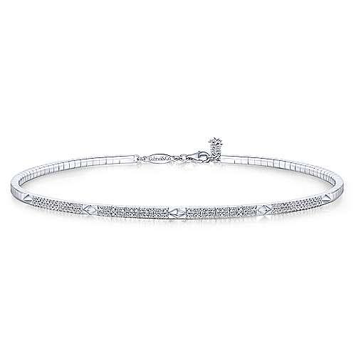 Gabriel - 14k White Gold Cascade Choker Diamond Choker Necklace