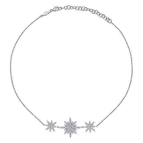 14k White Gold Cascade Choker Diamond Choker Necklace angle 2