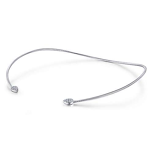 14k White Gold Cascade Choker Diamond Choker Necklace angle 1