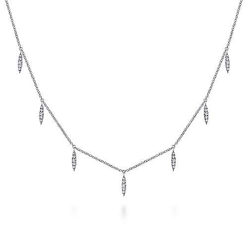 14k White Gold Cascade Choker Station Necklace angle 1