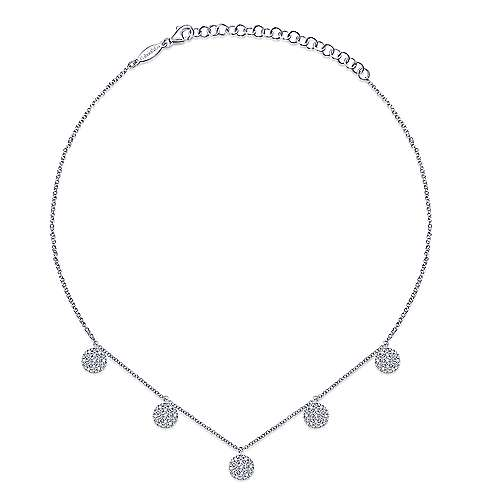 14k White Gold Cascade Choker Station Necklace angle 2