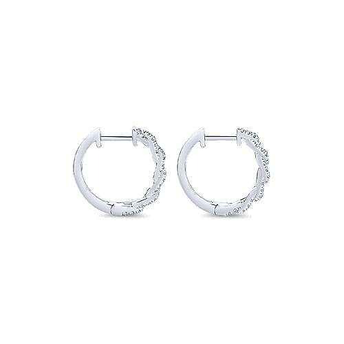 14k White Gold Chain Link Effect Diamond Huggie Earrings angle 2