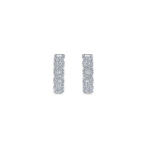 14k White Gold Chain Link Effect Diamond Huggie Earrings angle 3