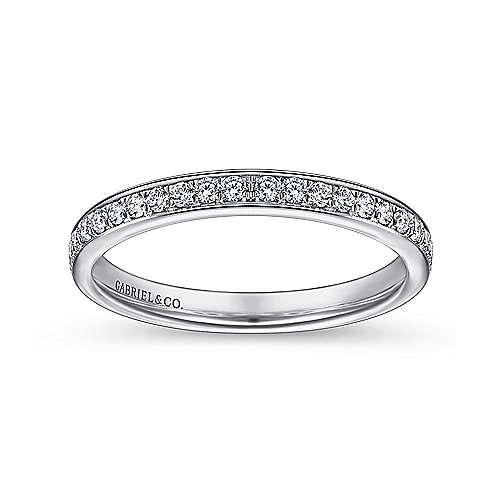 14k White Gold Channel Prong Set Band
