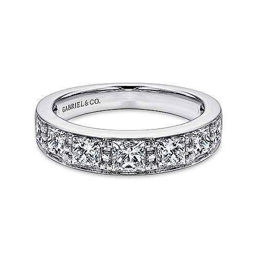 14k White Gold Channel Set Princess Cut 7 Stone Diamond Anniversary Band