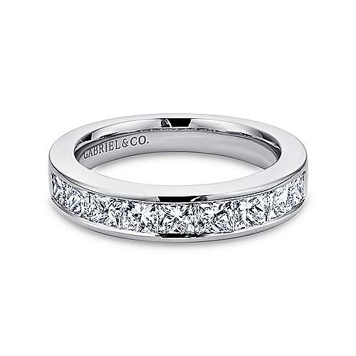 14k White Gold Channel Set Princess Cut 9 Stone Diamond Anniversary Band angle 1