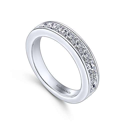 14k White Gold Channel Set Princess Cut 9 Stone Diamond Anniversary Band angle 3