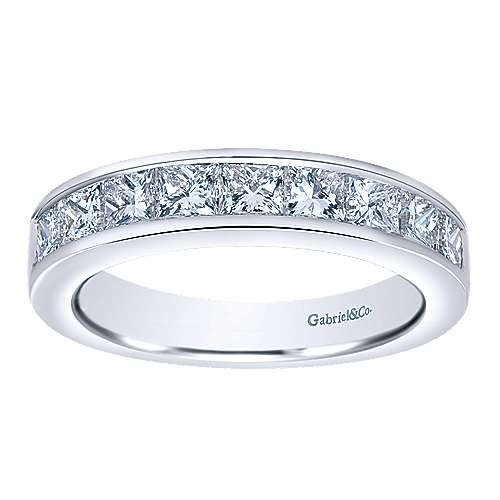 14k White Gold Channel Set Princess Cut 9 Stone Diamond Anniversary Band angle 5