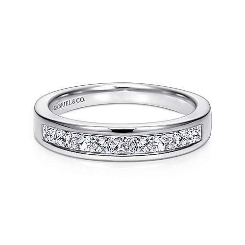 Gabriel - 14k White Gold Channel Set Princess Cut 9 Stone Diamond Anniversary Band