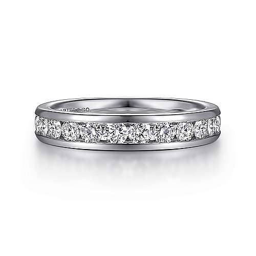 14k White Gold Channel Set Round 16 Stone Diamond Anniversary Band angle 1
