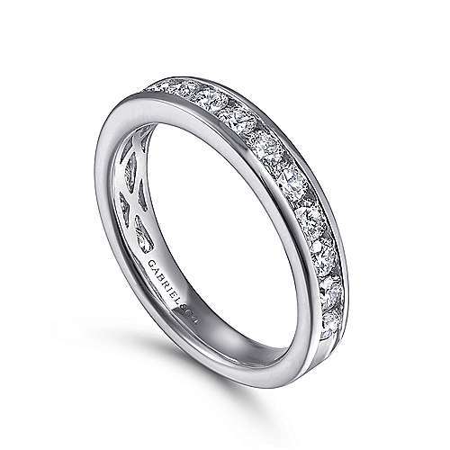 14k White Gold Channel Set Round 16 Stone Diamond Anniversary Band angle 3