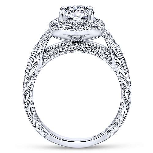 14k White Gold Channel and Hand Cut Etched Round Halo Diamond Engagement Ring angle 2