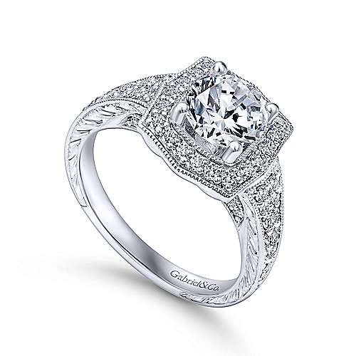 14k White Gold Channel and Hand Cut Etched Round Halo Diamond Engagement Ring angle 3