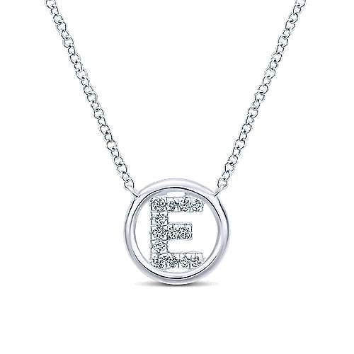 14k White Gold Circle Inscribed Uppercase E Diamond Initial Necklace
