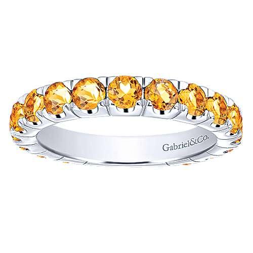 14k White Gold Citrine Stackable Ladies