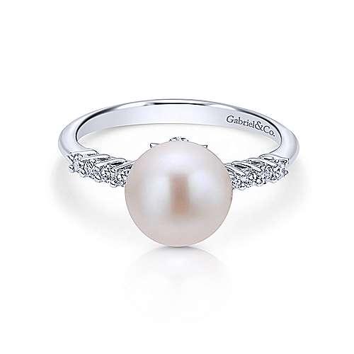 Gabriel - 14k White Gold Classic Cultured Pearl & Diamond Fashion Ring
