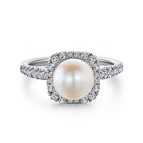 14k White Gold Classic Cultured Pearl Diamond Halo Ladies Fashion Ring