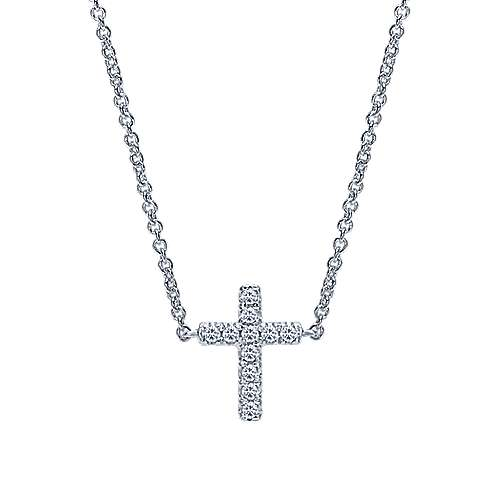14k White Gold Classic Diamond Cross Necklace