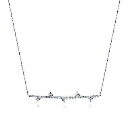 14k White Gold Cluster Adorned Diamond Bar Necklace