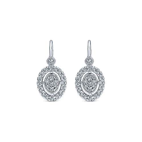14k White Gold Clustered Diamonds Drop Earrings angle 1