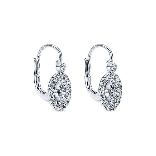 14k White Gold Clustered Diamonds Drop Earrings angle 2
