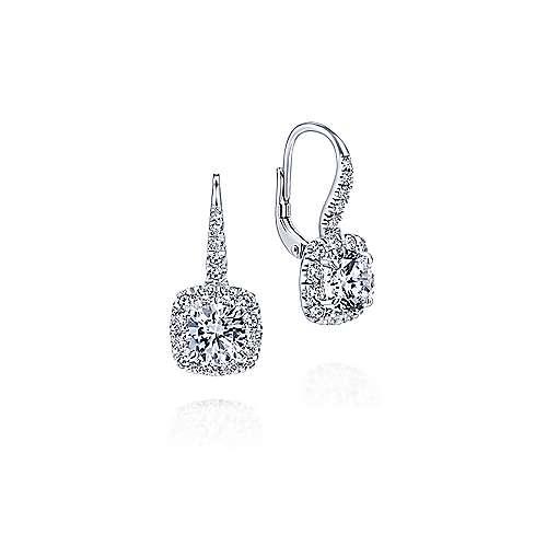 Gabriel - 14k White Gold Clustered Diamonds Drop Earrings