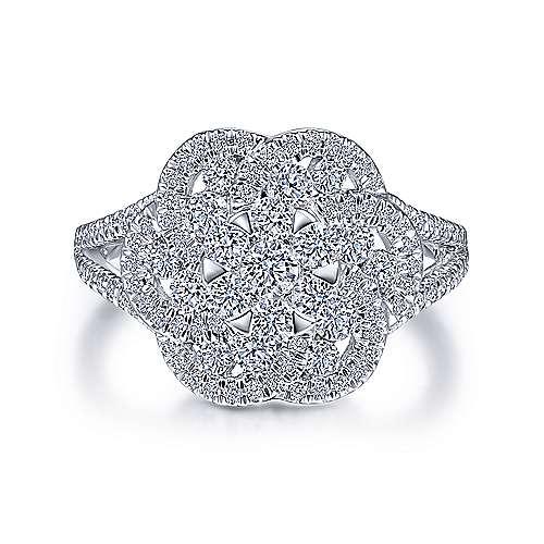 Gabriel - 14k White Gold Clustered Diamonds Fashion Ladies' Ring