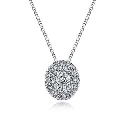 Gabriel - 14k White Gold Clustered Diamonds Fashion Necklace