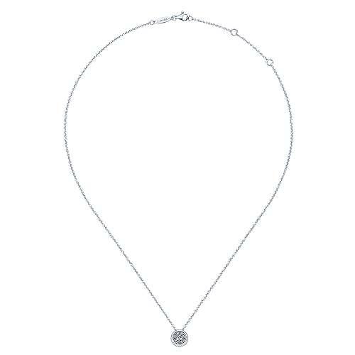 14k White Gold Clustered Diamonds Fashion Necklace angle 2
