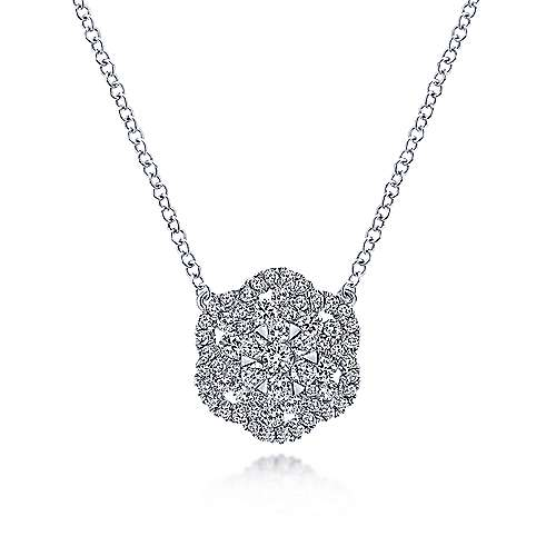 14k White Gold Clustered Diamonds Fashion Necklace angle 1