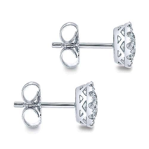 14k White Gold Clustered Diamonds Stud Earrings angle 3