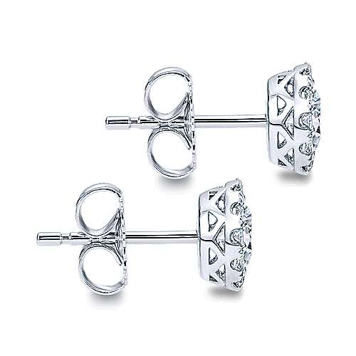14k White Gold Clustered Diamonds Stud Earrings angle 3