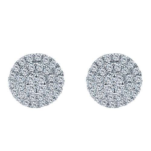 14k White Gold Clustered Diamonds Stud Earrings angle 1