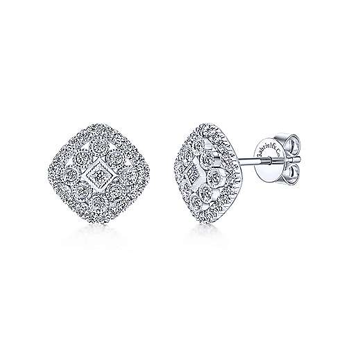 Gabriel - 14k White Gold Clustered Diamonds Stud Earrings