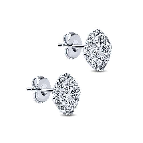 14k White Gold Clustered Diamonds Stud Earrings angle 2