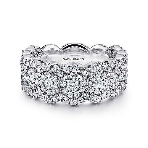Gabriel - 14k White Gold Clustered Diamonds Wide Band Ladies' Ring