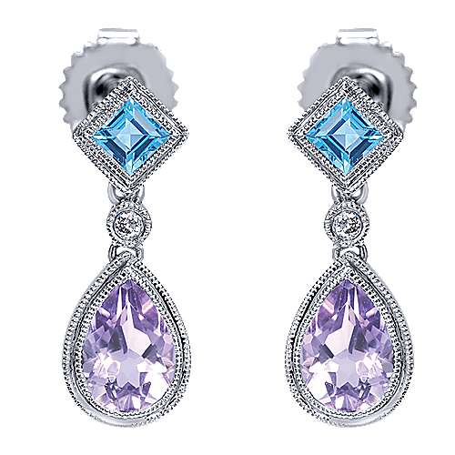 Gabriel - 14k White Gold Color Solitaire Drop Earrings