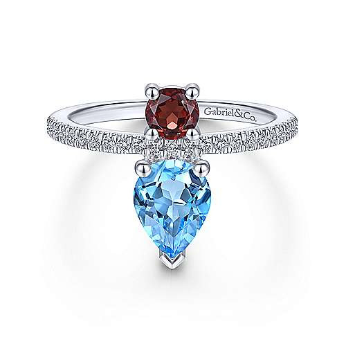 14k White Gold Color Solitaire Fashion Ladies' Ring