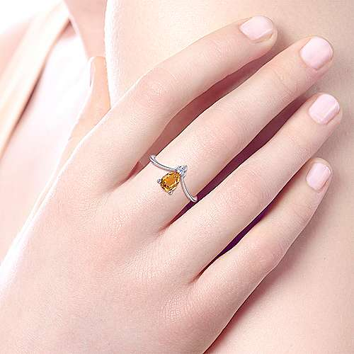 14k White Gold Color Solitaire Fashion Ladies' Ring angle 5