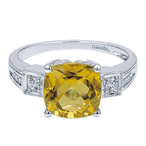 Gabriel - 14k White Gold Color Solitaire Fashion Ladies' Ring
