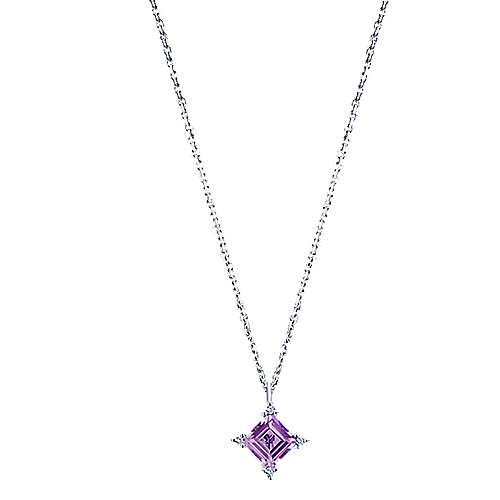 14k White Gold Color Solitaire Fashion Necklace angle 1