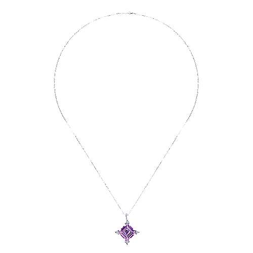 14k White Gold Color Solitaire Fashion Necklace angle 2