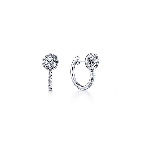 14k White Gold Color Solitaire Huggie Earrings